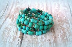 Turquoise Chrysocolla Gemstone Wire Wrap Silver by Cheshujewelry, $32.00