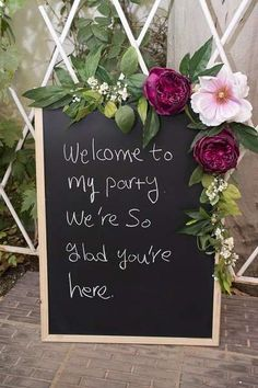 chalkboard sign at a garden birthday party! See more party ideas at !Welcome chalkboard sign at a garden birthday party! See more party ideas at ! 21 Party, 50th Party, 40th Birthday Parties, Birthday Signs, 90 Birthday Party Ideas, 18th Birthday Party Ideas Decoration, House Party Decorations, Garden Decoration Party, Garden Birthday