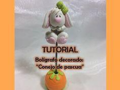 Porcelana fria: Bolígrafo decorado conejo de pascua / Caneta coelho em b...