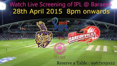 Watch Live screening of IPL2015 to enjoy the shots. At the entrance of Baraesti you have to pick a respective team's flag. The flag entitles to guzzles for a great fun #IPL #shots meant for everyone on your table at the beginning of the game and if your team wins you get the winning shots too!  Reserve a table +91 9967105022