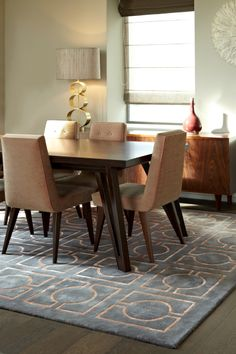 """Rug model """"Search"""" and furniture, designed by Two Is Company."""
