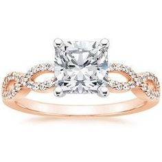 Rose gold band with this princess cut diamond ring.
