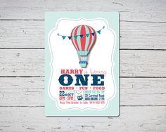 Aire caliente globo primer cumpleaños invitación imprimible