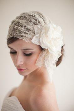 Chantilly Lace Bridal Cap Juliet Cap Lace by MelindaRoseDesign, $285.00
