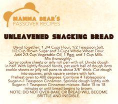 Passover / Feast of Unleavened Bread Recipe:  Unleavened Snacking Bread