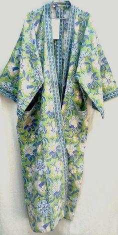 Rare Long Anokhi Apple Green Floral Hand block print Cotton Kimono robe One size