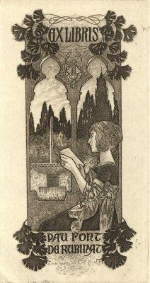 Ex libris by Alexandre de Riquer for Pau Font de Rubinat, 1903