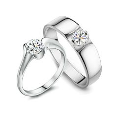 New Romantic Cubic Zirconia 925 Sterling Silver Plated White Gold Lover's Ring