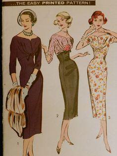 Vtg 1950s Advance 8394 Draped Empire Bodice Slim Sheath Dress Sewing PATTERN 16