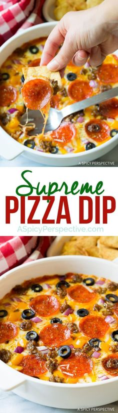 Try this easy 10-Ingredient Supreme Pizza Dip - Perfect for Super Bowl and can be made in the slow cooker!