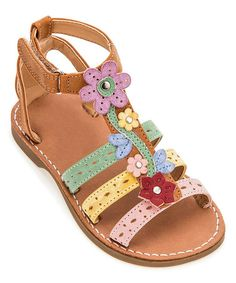 Vibrant flower accents delight tiny eyes, while this sandal's adjustable strap ensures custom comfort. Kid Shoes, Girls Shoes, Baby Shoes, Custom Comfort, Pretty Sandals, Summer Flats, Girls Wardrobe, Girls Sandals, Childrens Shoes