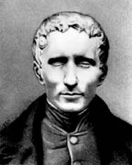 Charcoal drawing of Louis Braille. In 1824 invented a system of reading and writing for the blind by means of raised dots which is called Braille today. He died Jan. Churchill, Gabriel, Friend Of God, French History, Extraordinary People, People Of Interest, Medical History, Grave Memorials, Interesting History