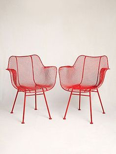Set of Vintage Red Mesh Metal 1950's-Inspired Chairs