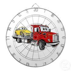 Red Tow Truck Flatbed Cartoon Dart Board