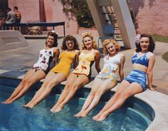 Trudy Marshall, Jeanne Crain, Gale Robbins, June Haver, Mary Anderson - kodachrome