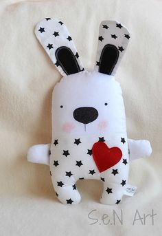 Black and White Handmade Stuffed Bunny Soft Toy Bear Modern Baby Nursery Decor Fabric Bunny Plush Black White Red Rabbit Plushie Softie