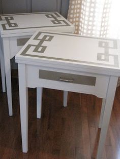 i finished the guest room side tables a while ago, just haven't put up pics yet... the fretwork look is easy to get with painter's tape i...