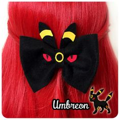 ~ Umbreon Bow ~  Due to popular demand I have decided to finally sell these Eeveelutions hair bows!  This listing is for the 'Umbreon' design.  Hand crafted and designed by me.