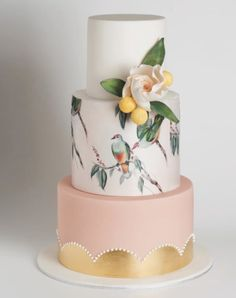 Put a bird on it: It's hard to go wrong with this whimsical watercolor wedding cake.