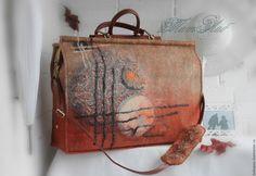 """Купить Дорожная валяная сумка """"За туманами"""" - коричневый, абстрактный, войлочная сумка, валяная сумка"""