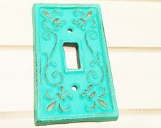 Single Light Switch Cover / Light Switch Plates / Single Light Switch Cover / Cast Iron Switch Plate/ Turquoise/ Customize Color