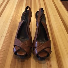 "Charlotte Russe Brown heels. Charlotte Russe Brown heels. Size 6 heel measures 5"" and the front platform measures 1.5"". PLEASE NOTE: contact scuff marks shown in picture 4. Literally worn once. In Near Perfect condition. Charlotte Russe Shoes Heels"