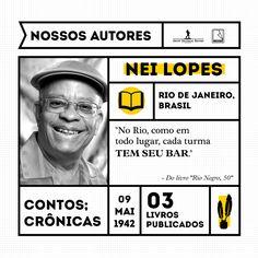 """Nei Lopes, bacharel em Ciências Jurídicas e Sociais, é compositor de música popular e escritor. Dedicado estudioso da cultura africana, tem diversos livros e artigos publicados sobre o assunto.  """"Rio Negro, 50"""", é um romance passado no Rio nos anos 50, em plena afirmação do negro na sociedade."""
