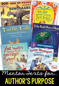 Primary informational mentor text suggested book list for finding the author's purpose for writing the text- explain, describe, answer questions- Teaching Kindergarten, Teaching Reading, Teaching Ideas, Teaching Activities, Guided Reading, Learning, Teaching Resources, Authors Purpose Activities, Tatoo