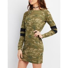 Charlotte Russe Camo Varsity Stripe Sweatshirt Dress ($22) ❤ liked on Polyvore featuring dresses, black combo, camo print dress, long sleeve dresses, short dresses, rock dress and longsleeve dress