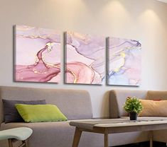 Oiney Lily Blush Pink Abstract Canvas Contemporary Wall Art Marble Home Wall Decor 3 Panels Print on Canvas for Living Rooms,Office,Bathroom Pink Wall Art, Framed Wall Art, Wall Art Prints, Living Room Canvas, Living Rooms, Living Room Decor, Abstract Canvas Wall Art, Pink Abstract, Office Bathroom
