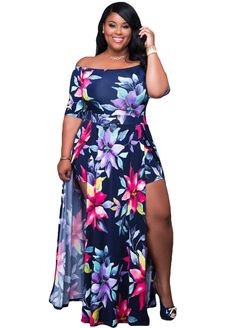 Navy-Blue Print Curvaceous Paneled Maxi Dress_Plus size Dress_Plus size Clothing_Sexy Lingeire | Cheap Plus Size Lingerie At Wholesale Price | Feelovely.com