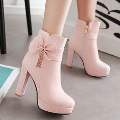 韩版百搭蝴蝶结加绒防水台超高跟短靴粗跟新款秋冬季及裸靴女靴子