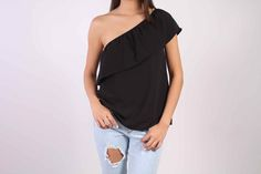 Débardeur asymétrique noir - Top one shoulder TOPY STL Paris