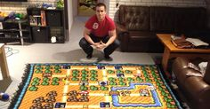 This Man Spent 6 Years Crocheting a Super Mario Bros Map Blanket | Bored Panda