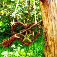 Pagan Handfasting Gifts, Pentagram Besom Heart, Wiccan car Amulet by PositivelyPagan via Etsy Wicca Witchcraft, Pagan Witch, Magick, Witchy Garden, Gothic Garden, Beltane, Pentacle, Dulceros Halloween, Wiccan Crafts