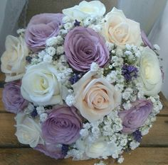 champagne, ivory & lilac rose bridal bouquet with a hint of lavender