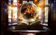 Wallpaper book, sphere, magic, sorcery