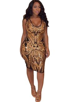 Gold Sequins Spliced Mesh Bodycon Midi Dress_Club Dress_Clubwear Clothing_Sexy Lingeire | Cheap Plus Size Lingerie At Wholesale Price | Feelovely.com