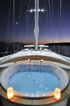 Hot tub on a sailing boat! Never seen one of these before! You need not buy the yacht. Just book for charter with a crew. For week or two ? No problem with special offers at PrimaYachting.Com