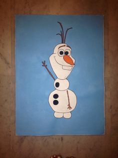 Art. Painting posca olaf la reine des neiges