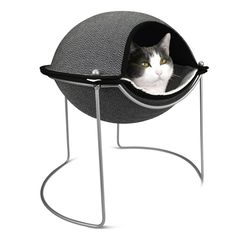 Hepper Pod Cat Bed | herringbone/white/silver $110. Want to get this for the next cat.