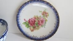 Flow Blue with Gold Trim Plates Pink Roses and Lily of the Valley Scalloped Edge Plate Flow Blue Plate