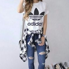 adidas tee and flannel and jeans, Adidas outfit ideas http://www.justtrendygirls.com/adidas-outfit-ideas/