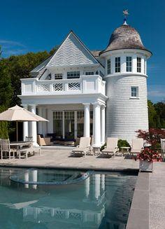 Shingle / Coastal style pool house with 'lighthouse' nod...