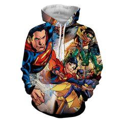 Justice League Powerful Superman Comic Art Print Hoodie    #JusticeLeague #Powerful #Superman #Comic #Art #Print #Hoodie