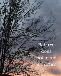 Nature does not need a filter.
