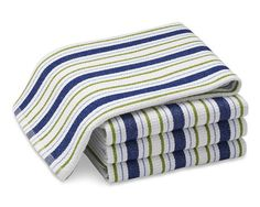 cultivateit Williams-Sonoma Stripe Dishcloth, Set of 4, Blue/Green ...