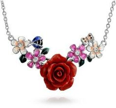 Bling Jewelry Resin Bouquet Cz Station Pendant Rhodium Plated Necklace 16 Inches.