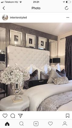 Love the wallpaper color and texture luxury bedroom design, master bedroom design, bedroom inspo Luxury Bedroom Design, Bedroom Makeover, Home Bedroom, Luxurious Bedrooms, Bedroom Inspirations, Silver Bedroom, Apartment Decor, Glam Bedroom Decor, Interior Design