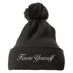Know Yourself Embroidered Knit Pom Cap